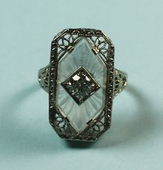 Art Deco Diamond Ring Camphor Glass 14K White by PastSplendors, $1099.00