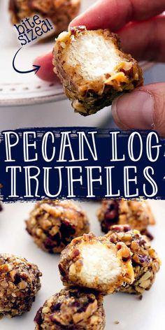 Chewy nougat, covered in creamy caramel, and rolled buttery, toasted pecans.  These Pecan Log Truffles are just what you need for your holiday party! #PecanLog #PecanCandy #HolidayCandy