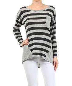 bfe770e180f23 Loving this Gray  amp  Black Stripe Pocket Boatneck Top on  zulily!   zulilyfinds