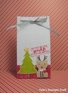 スタンピンアップ  ギフトバッグ・パンチボードで作ったクリスマスのトリートバッグ!スタンプはフォクシーフレンズ・スタンプセットとクリスマス・パイン・スタンプセット。 Christmas treat bag using Gift Bag Punch Board, Foxy Friends and Christmas Pine stamp set, Stampin' Up!