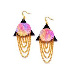 Triangle Galaxy Earrings, Leather Earrings, Ombre Pink Planet Earrings, Pyramid Earrings, Chain Earrings, Dangle Earrings, Tribal Jewelry