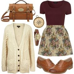 Burgundy and tapesty by hanaglatison on Polyvore featuring Topshop, Mulberry, Infinite and H&M