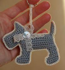 ручной хлопок вязание игрушек собака с Flover брелок крючком вязание иглы