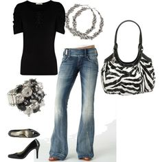 Black, white and ready for the night. Love the zebra purse.