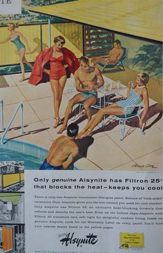 Vintage Swimming Pool Ad Outdoors Family Atomic Age by TannaGail Vintage Advertisements, Vintage Ads, Vintage Prints, Pool Party Kids, Summer Pool Party, Retro Summer, Summer Fun, Pool House Decor, Vintage Patio