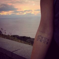 My coordinates tattoo to my favorite spot in my hometown - overlooking the Atlantic Ocean