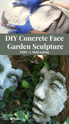 , Create a reusable mold to easily cast your DIY Concrete Face Garden Sculpture for your garden design, sculpt your own face, add moss or color. , DIY Concrete Face Garden Sculpture Mold - Made By Barb - easy mold making of your face sculpture Cement Garden, Cement Art, Concrete Cement, Concrete Crafts, Concrete Projects, Cement Planters, Diy Projects, Head Planters, Concrete Garden Statues