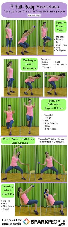 5 Full-Body Exercises That Save You Time. Need to get more out of your workout in less time? Try combo moves. | via @SparkPeople