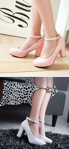 Simply gorgeous chunky heels with a cute ankle trap! Repin if you also like them <3