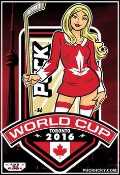 """PUCK HCKY 'WORLD CUP CANADA' hockey poster Our exclusive, limited edition, World Cup series features work by world-renowned pinup artist, Rob Ullman. This vibrant 13"""" x 19"""" poster is our salute to Tea"""