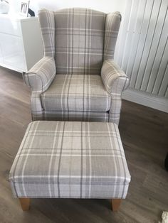 Next Sherlock chair and footstool in excellent condition in neutral check Tartan Chair, French Dining Chairs, Accent Chairs For Living Room, Blue Chairs Living Room, Oak Dining Room, Open Plan Kitchen Living Room, Living Room Bench, Wingback Chair Living Room, Chair
