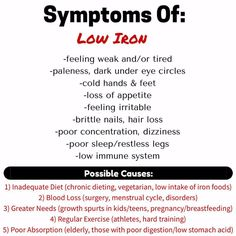 Experiencing any of these symptoms? Have your Iron checked! Iron is what conveys oxygen to the brain. When you are defi. Health Facts, Health And Nutrition, Health And Wellness, Health Tips, Iron Deficiency Anemia Symptoms, Signs Of Iron Deficiency, Foods With Iron, Iron Rich Foods, Feeling Weak
