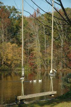 Country pond with autumn swing. Country Charm, Country Life, Country Living, Country Decor, Country Roads, Vie Simple, Lakeside Living, Pergola Plans, Pergola Swing