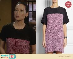 Richard Nicoll Pink Print Silk Shift Dress worn by Lucy Liu on Elementary Fashion Tv, Fashion Outfits, Pink Silk, Dress Codes, Silk Dress, Style Inspiration, Style Ideas, Short Sleeve Dresses, Lucy Liu
