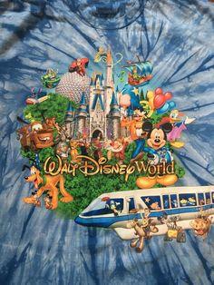Disneyland Resort Walt Disney World Blue Tie Dye T-Shirt Sz XL 100% Cotton EUC #Disney #GraphicTee