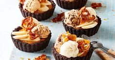 Take a few short cuts with these decadent banana, caramel and ice-cream pies topped with homemade pretzel praline.