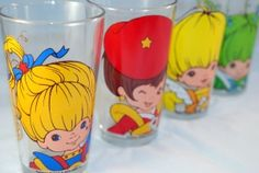 Rainbow Brite Drinking Glasses from Spencers Retro Toys, Vintage Toys, Cartoon Glasses, Nostalgia, Childhood Characters, Love Rainbow, Favorite Cartoon Character, Rainbow Brite, 80s Kids