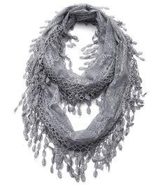 Cozy by LuLu - Gray Lace Infinity Scarf