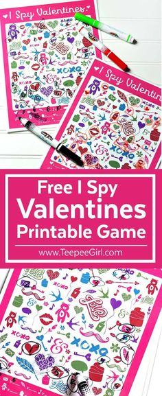 Free I Spy Valentines Printable Game - Teepee Girl - This free I Spy Valentines printable game is perfect for parties, play-dates, and quiet afternoons - Kinder Valentines, Valentines Day Activities, Valentines Day Party, Valentine Day Crafts, Valentine Box, Valentine Ideas, Valentines Party Ideas For Kids Games, Holiday Crafts, Valentine Games