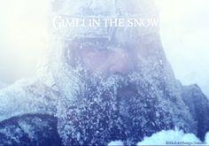 Gimli in the snow.