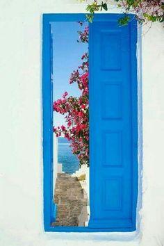 Ouvrir, porte, bleu, blanc, mer,