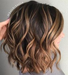 Soft waves on Brown Lob With Caramel Balayage