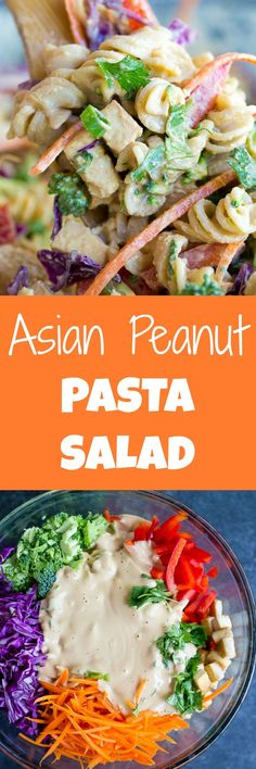 This Asian Peanut Pasta Salad is mayo free and packed with vegetables and tofu!  It's great for a healthy picnic side dish or a quick and easy dinner!  Gluten free and vegan.