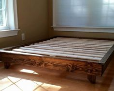 Platform Bed Frames rustic solid wood platform bed frame & headboard reclaimed wood