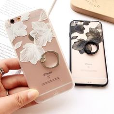 Fashion Ring Grip Cover Case For iPhone 6 Plus Black White Lace Flower Mobile Phone Shell Coque Fundas For iPhone 7 Plus Iphone Phone, Iphone 6 Cases, Cute Phone Cases, Phone Covers, Iphone 7 Plus, Iphone Tempered Glass, Iphone 6 Design, Shell, Lace Flowers