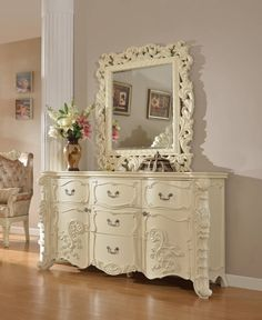 https://www.theclassyhome.comNovara Traditional Pearl White Hand Carved Design Dresser and Mirror