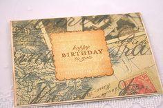 Birthday Card for Men Greeting Notecard Vintage Travel Map