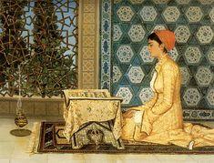 Osman Hamdi Bey, Kuran okuyan kız (Girl reading the Qu'ran) Portrait Photos, Portraits, Buch Design, Turkish Art, Woman Reading, Art Database, Ottoman Empire, Arabian Nights, Cultura Pop