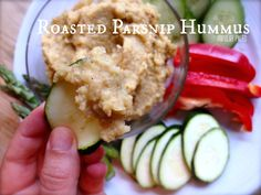 Parsnip Recipes: Roasted Parsnip Hummus sub veggie stock for vegetarian/vegan friendly Primal Recipes, Real Food Recipes, Yummy Food, Peanuts, Parsnip Recipes, Roasted Parsnips, Roasted Garlic, Healthy Snacks, Healthy Recipes