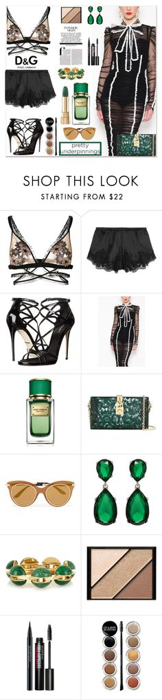"""""""The Prettiest Underpinnings"""" by zouus ❤ liked on Polyvore featuring For Love & Lemons, Dolce&Gabbana, Kenneth Jay Lane, Chloé, Elizabeth Arden, Smashbox, Giorgio Armani, dolceandgabbana, lingerie and emeraldgreen"""
