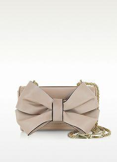 Valentino Garavani Blush Leather Shoulder Bag w/Bow
