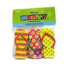 A great idea for a Hawaiian/tropical party or maybe even to add to loot bags for a girl's party.  This pack contains 12 notepads in the shape of brightly coloured thongs!