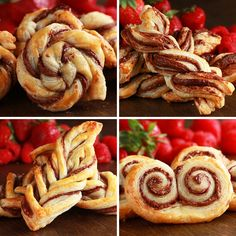 Puff Pastry & Nutella - 4 ways - beautiful! Nutella Puff Pastry, Puff Pastry Desserts, Sweet Puff Pastry Recipes, Puff Pastry Appetizers, Brunch Appetizers, Pastries Recipes, Mini Pastries, Sweet Pastries, Yummy Food