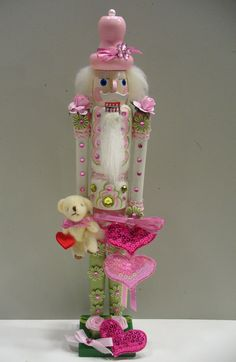 Valentine's day NutcrackerPink Pink heartssweet teddy by shazam101, $22.00