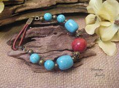 Turquoise and Red Bracelet Gemstone Bracelet Sponge Coral