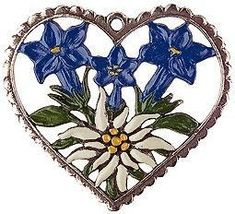 Heart Framed Enzian and Edelweiss - For the Tree - Flowers - Kühn Pewter Embroidery Patches, Ribbon Embroidery, Edelweiss Tattoo, Alpine Flowers, Shield Maiden, Butterfly Drawing, Flower Ornaments, Rock Painting Designs, Heart Frame