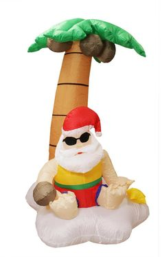 5.5' Inflatable Santa Claus and Palm Tree Tropical Lighted Christmas Yard Art Decor 31313725 | ChristmasCentral