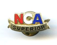"Vintage ""NCA Superior"" Varsity Spirit Enamel Gold Tone Lapel Tie Tack Pin"