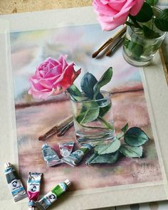 Beautiful watercolor paintings by Luybov Titova Watercolor And Ink, Watercolour Painting, Watercolor Flowers, Painting Lessons, Love Painting, Art Floral, Realistic Drawings, My Drawings, Lemon Drawing