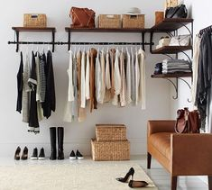 Trendy Open Closet Ideas For Small Spaces Shelves Shelves In Bedroom, Closet Shelves, No Closet Bedroom, Master Bedroom, Closet Storage, Clothes Rack Bedroom, Master Suite, Bedroom Bed, Storage Bins