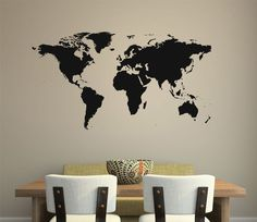 World Map Wall Decal removable sticker home decor mural room art global globe