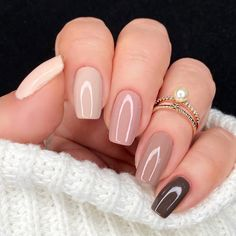 Gradient Nails, Nude Nails, Gel Nails, Sprinkle Nails, Fall Acrylic Nails, Autumn Nails, Different Color Nails, Minimalist Nails, Manicure E Pedicure