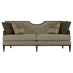 Showcasing a distinctive half-moon back and tweed-inspired upholstery, this chic sofa brings handsome appeal to your living room or den.