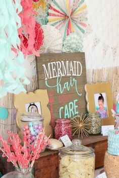 Every detail of this Mermaid Birthday Party is swoon worthy. From the dinglehopper cake pops to the tissue paper jelly fish. Ariel would be proud.