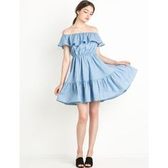 Chambray ruffled off the shoulder dress ($89) ❤ liked on Polyvore featuring dresses, white ruffle dress, white frilly dress, white flounce dress, flounce dress and white off shoulder dress