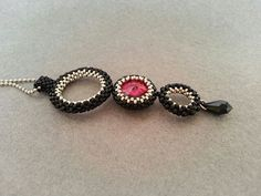Black Red Beaded Rivoli Swarovski Pendant